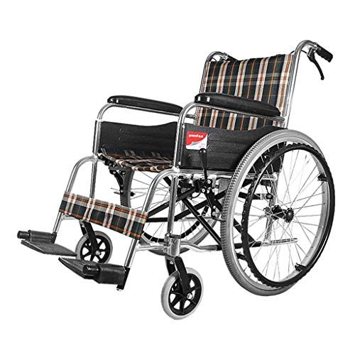 Aluminum 26 Inch Trolley - YangMi Wheelchair- Elderly Disabled Wheelchair Portable Folding Lightweight Aluminum Trolley (Color : Solid tire, Size : 88x66cm)