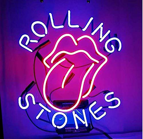 Rolling Stones Neon Signs Real Glass Beer Bar Pub Party Homeroom Decor Or For Christmas Gift 19x15