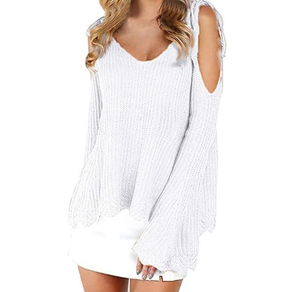 VJGOAL Mujeres Otoño e Invierno de Moda Casual Off Hombro Color sólido de Punto Vendaje suéter