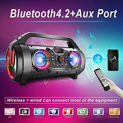 Portable Bluetooth Speakers, 30W Loud Outdoor Speakers with Subwoofer, FM Radio, RGB Colorful Lights, EQ, Stereo Sound, 10H Playtime Boombox Wireless Speaker for Home, Party, Camping, Travel 51ogzsVpS4L