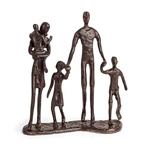 Danya B. Family of Five Sand Casted Metal Sculpture in a Beautiful Bronze Finish Bottom-Lined with Velveteen