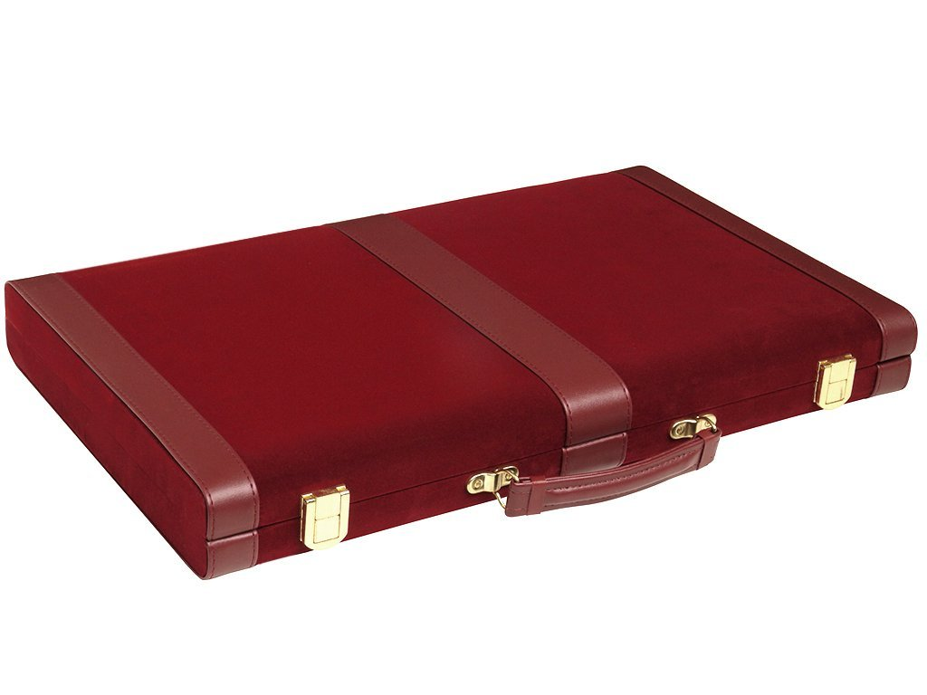 Luxurious Velour Case Middleton Games Deluxe Attache Backgammon Set 15 Medium Size Classic Maroon Board Game