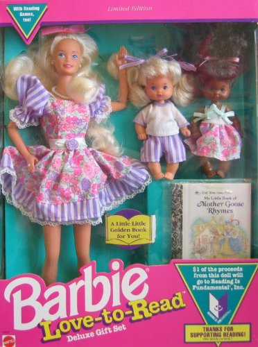 Mattel Barbie Love to Read Deluxe Gift Set w 3 Dolls & Mini Book - Limited Edition (1992)