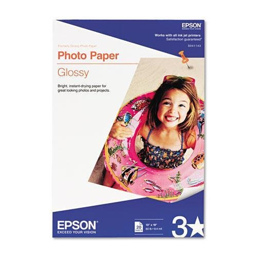 EPSON America Glossy Photo Paper, 60 lbs, Glossy, 13 x 19, 20 Sheets/Pack - S041143 Paper Photo Epson