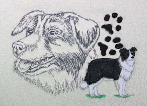 - Throw with Embroidered Black and White Border Collie in the Corner (Gray)
