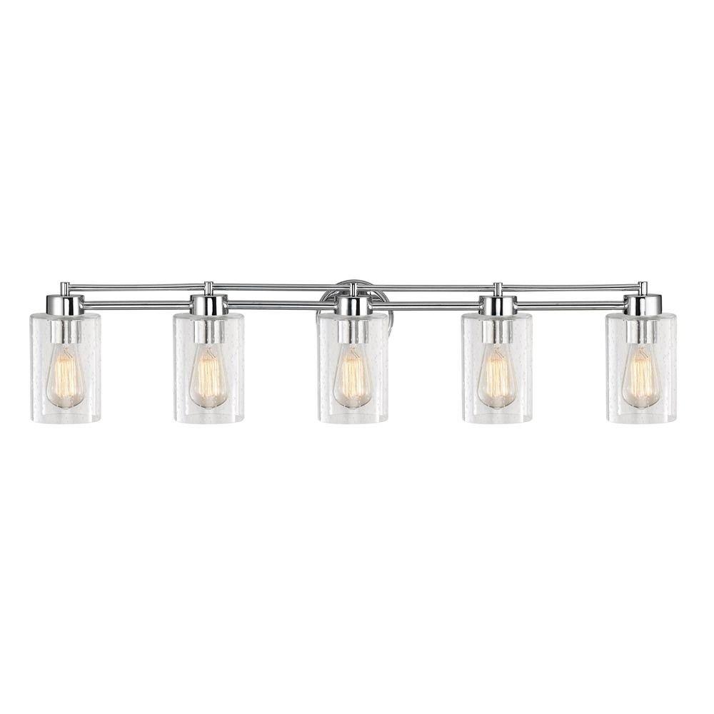 Design Classics Lighting Seeded Glass Bathroom Light Chrome 5 Lt