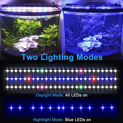 MingDak LED Aquarium Light,Full Spectrum Fish Tank Light with Aluminum Housing Extendable Brackets,White Blue Red Green LEDs for Freshwater Plants
