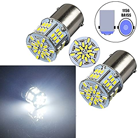 Bulbeats 800 Lumens 2pcs 54-BX Chipsets 1156 7506 1003 1141 1073 BA15S 1095 1073 LED Bulbs with Projector Interior RV Camper light,Back Up Reverse Lights,Tail Lights,Rv lights Xenon White (1156 Led Bulb Replacement)