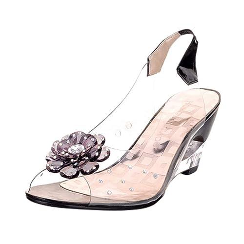 c09ac9e807f Women's Jelly Sandals,Summer Flower Rhinestone Peep Toe Roma Wedges Crystal  Wedges Shoes