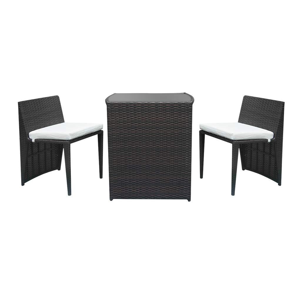 VIPITH 2pcs Bar Chairs 1pc Bar Table Rattan Chair Set Brown Gradient