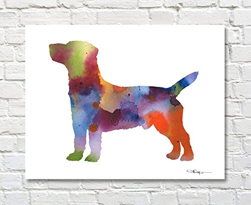 Jack Russell Terrier Abstract Watercolor 11 X 14 Art Print by Artist DJ Rogers