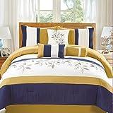 Dovedote Comforter Set, Bahama Paradise Yellow Blue Embroidery, King