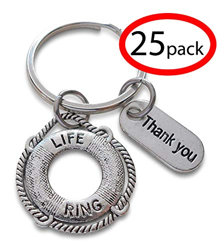 Lifesaver Keychain & Thank you Tag, Appreciation Gift, You've Been a Lifesaver (Set of 25)