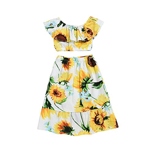 YOUNGER TREE Baby Girls Sleeveless Fashion Sundress Clothes Off Shoulder Tops + Floral Dress + 2pcs Outfits Set (Sunflower, 5-6Y) for $<!--$13.99-->