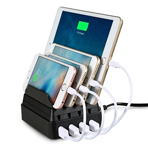 Charging Station, Maxnic 4-Port USB Charging Docks Multi-Device Organizer Fast Charger [27W / 2.4A Max] with Cord Storage, Multi-Port USB Charger Desktop Charging Stand for Smartphones and Tablets