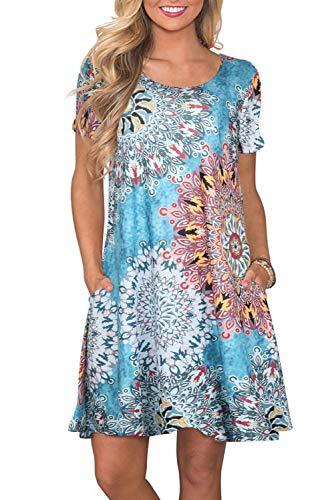 Light T-shirt Womens Bridesmaid (Fantastic Zone Women's Casual Summer T Shirt Dresses Short Sleeve Swing Dress with Pockets)