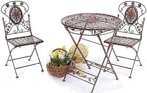 Avis - Conjunto de Mesa y 2 sillas (Hierro Forjado), diseño Colonial: Amazon.es: Jardín