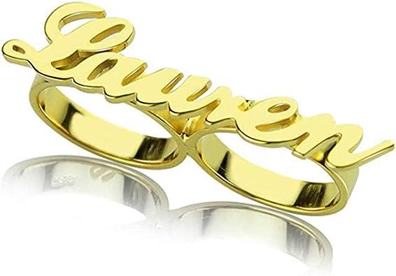 Danny Queen Anillos Personalizados Plata Dos Dedos Custom Nombre Letra Anillos Declaración Boda Hip Hop Anillos para Hombres Mujeres: Amazon.es: Joyería
