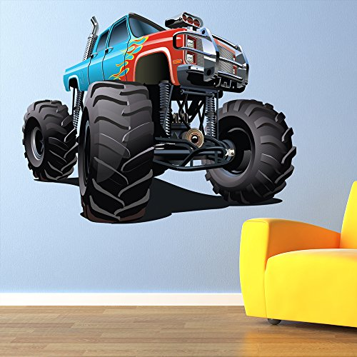 Blue Red Monster Truck Wall Sticker Cool Vehicle Wall Decal Boys Bedroom Decor available in 8 Sizes XX-Large - Truck Blue Cool