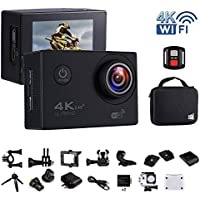 Action Camera 4K Wifi Waterproof Sports Camera with Sony Sensor 170°Wide Angle Lens 2.0 Inch LCD Display Video Camera(Rechargeable Batter+Tripod+Carrying Bag+Battery Charging Dock(V60S-Black)