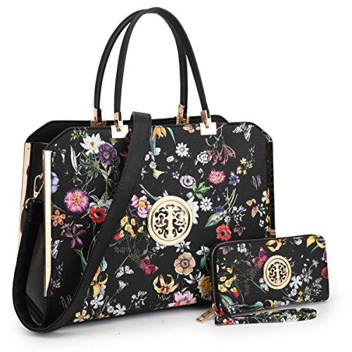 "Women Large Designer Handbags Satchel Purses Structured Briefcase Shoulder Bags Work Bags for 13"" Laptop Tablet (3-6900 Style Black Flower New)"