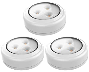 Brilliant Evolution Wireless LED Puck Light 3 Pack | Works With Remote Control | LED Under Cabinet Lighting | Closet Light | Battery Powered Lights | Under Counter Lighting | Stick On Lights