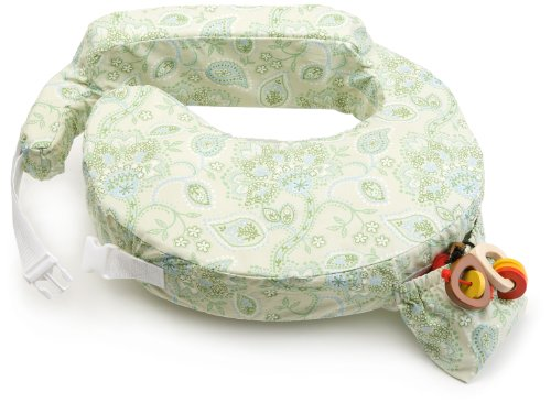 My Brest Friend Inflatable Travel Nursing Pillow - Maternity Breastfeeding Support, Green Paisley