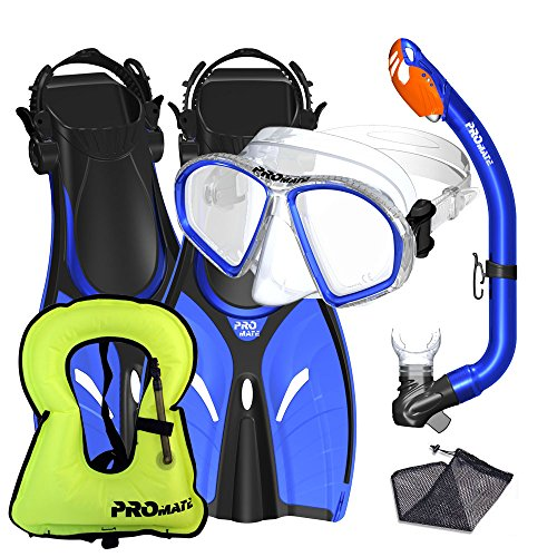 Promate Junior Snorkeling Vest Fins Mask Snorkel Set for Kids, Blue, SM ()