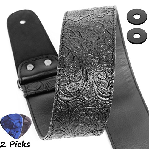 Guitar Strap, Printed Leather Guitar Strap PU Leather Wester