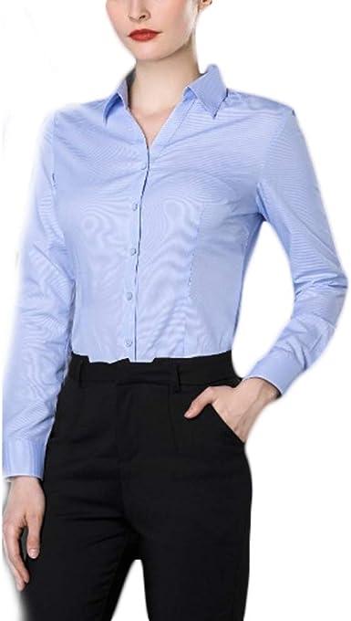 Fiyomet Camisa para Mujer Profesional Vestido Cuello en V ...