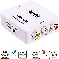 Sonolife - Convertidor 1080P RCA/AV Composite a HDMI Video Audio Adaptador Soporte PAL/NTSC TV Formato de Salida para PC/portátil/Xbox/PS4/3/STB/VHS/VCR Cámara/DVD