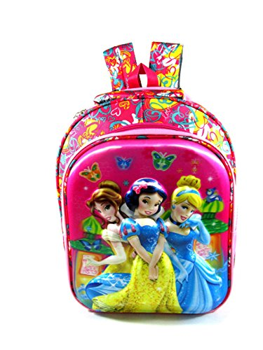ehuntz Disney Princess 5D Embossed Polyester Waterproof School Bag for 6 to 10 Years  Pink/Multicolour