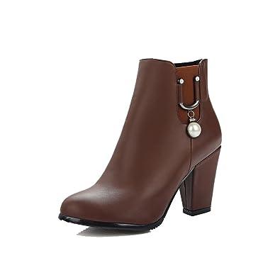AllhqFashion Damen Hoher Absatz Weiches Material Rein Reißverschluss Stiefel, Rot, 33