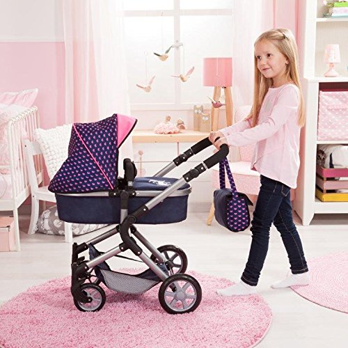 Bayer Design 18154AA City Neo Dolls Pram with Changing Bag, Blue/Pink by Bayer (Image #7)