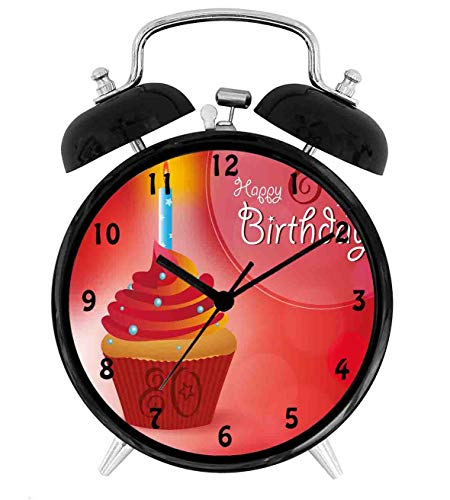 BCWAYGOD 80th Birthday, Birthday Party Cupcake with Candle and Sunbeams Image,Desk Clock Home Unique Decorative Alarm Ring Clock 4in, Orange Red and White