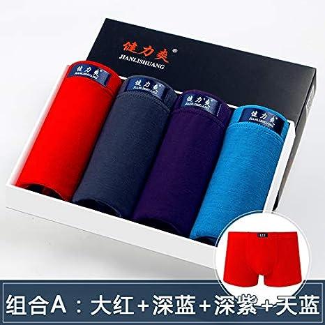 WXNLEAI 4 Cajas de regalo Ropa interior para hombre Jianli Shuang Boxer para hombre U Pantalones