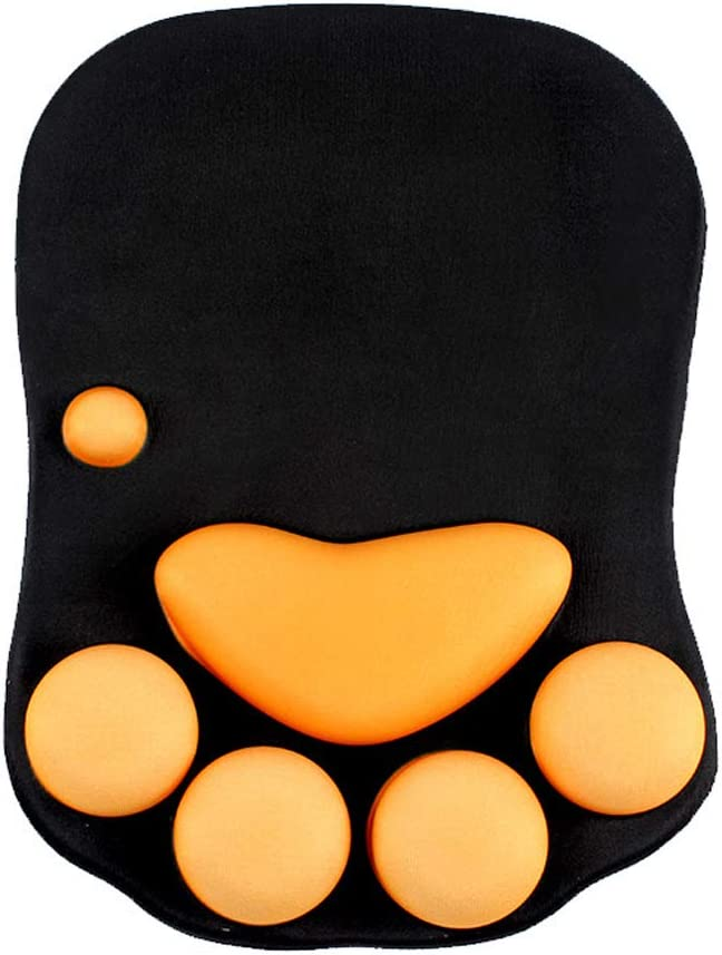 Duboon Mouse Pad with Gel Wrist Rest Non-Slip Cute Mouse Pad Ergonomic Silicone Wrist Rest Fit for Lightweight Rest for Home, Office & Travel (Catpaw Black)