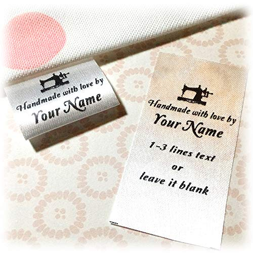 (100 pcs Sewing Machine Design Custom Text Logo Personalized Sewing Hanging Satin Ribbon Clothing Labels Folding Name tag Washable wash Care Handmade Label Size C)