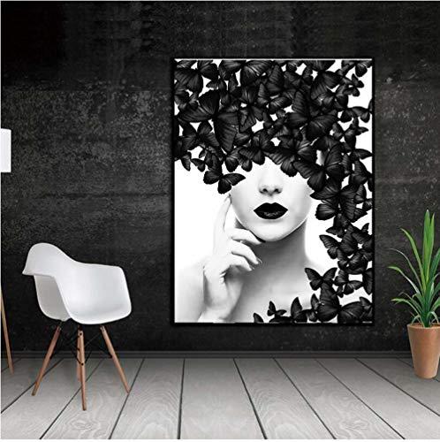 MXmama Cartel Nordico Negro Blanco Mariposa Mujer Arte De La Pared Impresiones De La Lona Cuadros De La Pared Pinturas Modernas 70X100Cm Sin Marco