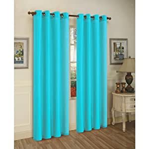 2 solid aqua blue faux silk grommet 87866