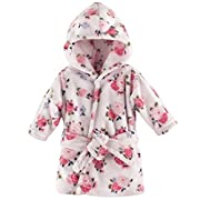 Luvable Friends Coral Fleece Bathrobe, Floral, 0-9 Months