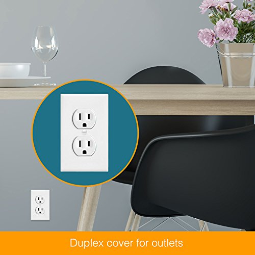 ENERLITES Duplex Receptacle Outlet Wall Plate, Size 1-Gang 4.50'' x 2.76'', Polycarbonate Thermoplastic, 8821-W-10PCS, White (10 Pack) by ENERLITES (Image #6)