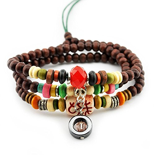 Winter's Secret Dual-purpose Crystal Bead Pendant Passionate Red Totem Pattern Wood Beaded Bracelet (Tangle Twine)