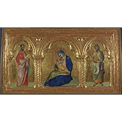 Oil Painting 'Lorenzo Veneziano The Madonna Of Humility With Saints Mark And John ' Printing On Perfect Effect Canvas , 12 X 22 Inch / 30 X 56 Cm ,the Best Study Decor And Home Decor And Gifts Is This Vivid Art Decorative Prints On Canvas
