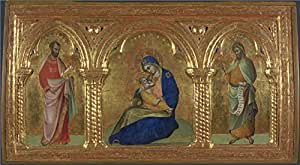 high quality polyster Canvas ,the High Definition Art Decorative Canvas Prints of oil painting 'Lorenzo Veneziano The Madonna of Humility with Saints Mark and John ', 10 x 18 inch / 25 x 46 cm is best for Basement gallery art and Home gallery art and Gifts