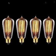 Juneslife Vintage E26 E27 Edison Bulb Retro Lamp ST58 40W Incandescent Decorative Filament Light Dimmable pack of 4 (Tear Drop Pattern)