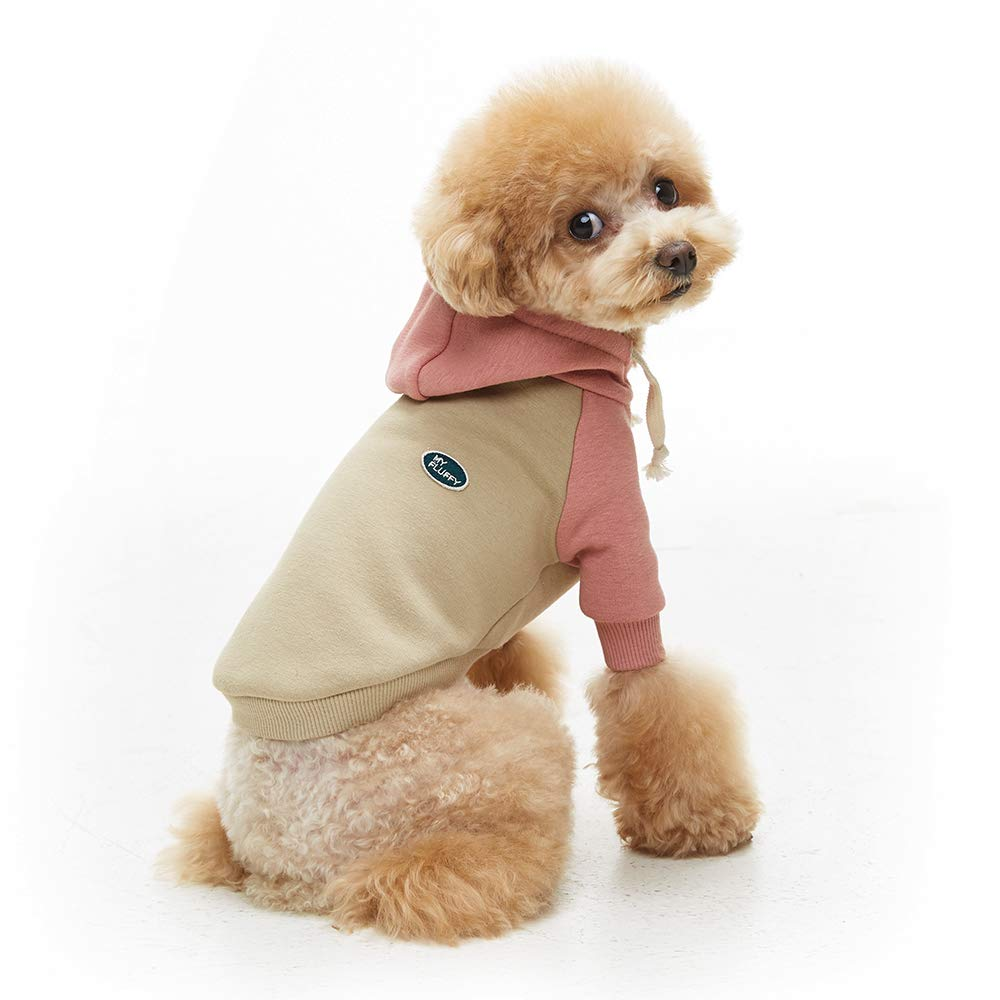 My Fluffy Dog Clothes Two Tone Plush Hoodie Shirts (Large, Pink)