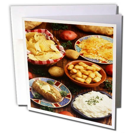 3dRose TDSwhite – Farm and Food - Food Potatoes Various Forms - 6 Greeting Cards with Envelopes (gc_285165_1) by 3dRose