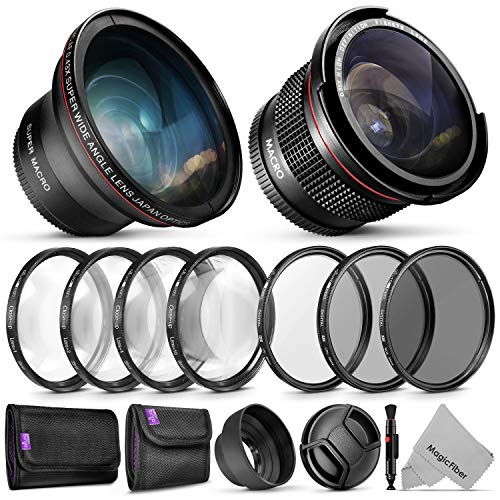 58mm Altura Photo Essential Accessory Kit for Canon EOS Rebel DSLR Bundle with Altura Photo Fisheye and Wide Angle Lenses from Goja
