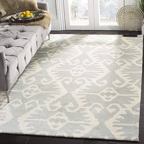 Safavieh Wyndham Collection WYD323G Handmade Grey and Ivory Wool Area Rug